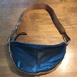 Hype black leather studded shoulder bag